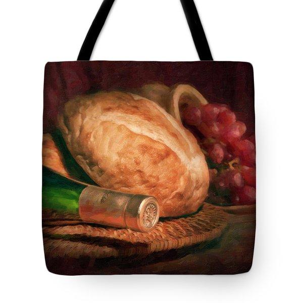 Bread And Wine Tote Bag by Tom Mc Nemar