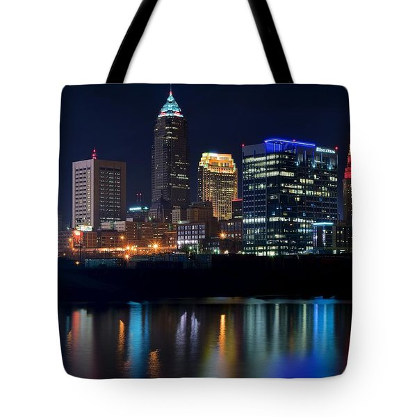 Bright Lights City Nights Tote Bag by Frozen in Time Fine Art Photography
