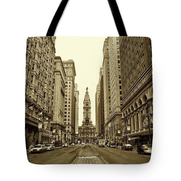 Broad Street Facing Philadelphia City Hall in Sepia Tote Bag by Bill Cannon