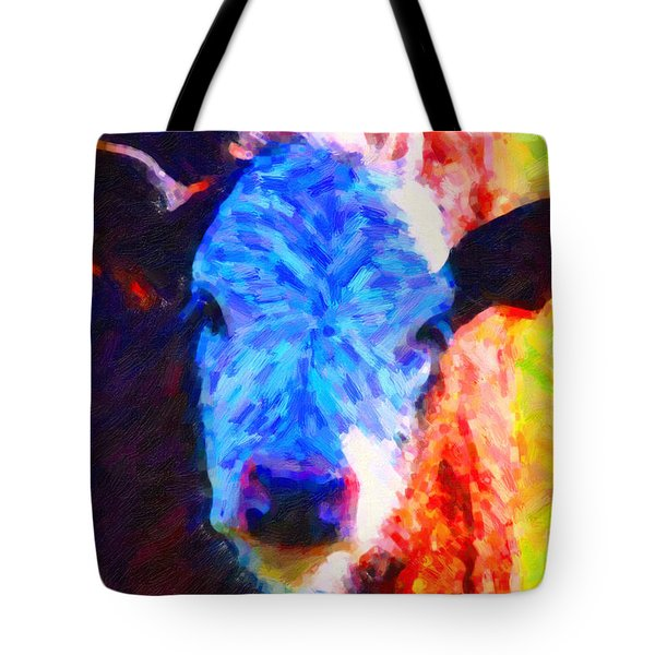 Brown Cow . Painterly Tote Bag by Wingsdomain Art and Photography