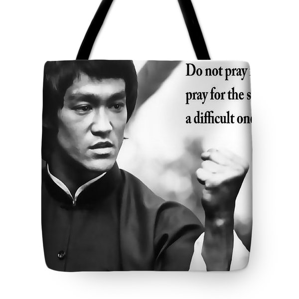 Bruce Lee On Enduring Life's Challenges Tote Bag by Daniel Hagerman