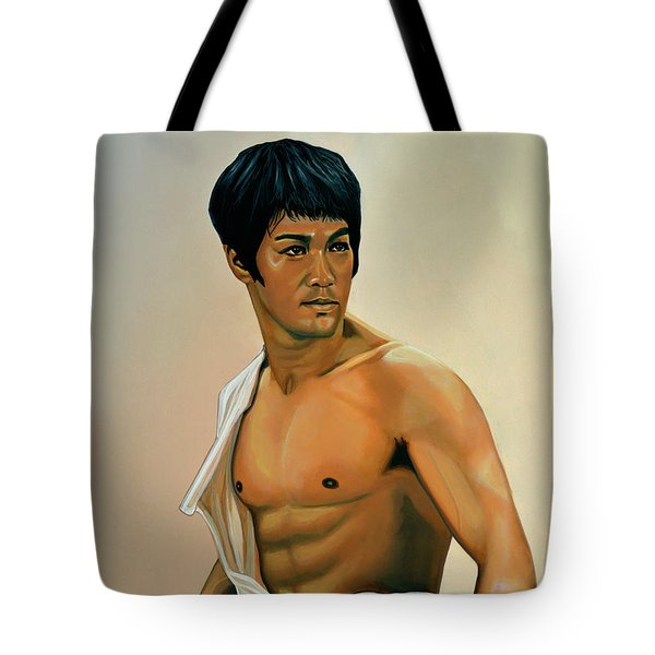 Bruce Lee Painting Tote Bag by Paul Meijering