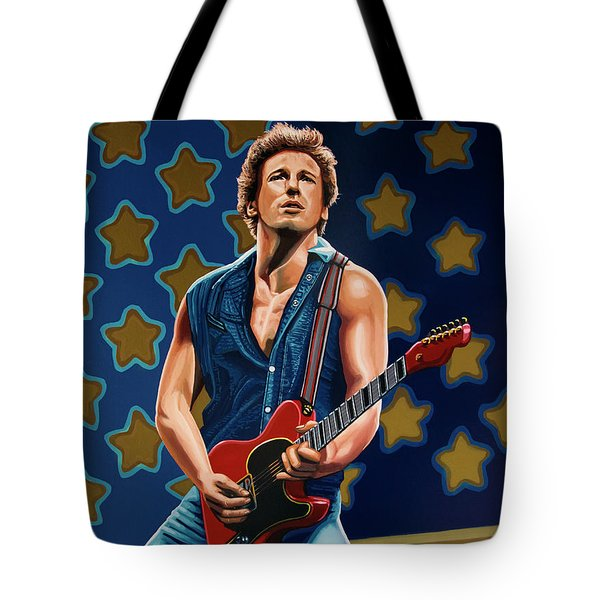 Bruce Springsteen The Boss Painting Tote Bag by Paul Meijering