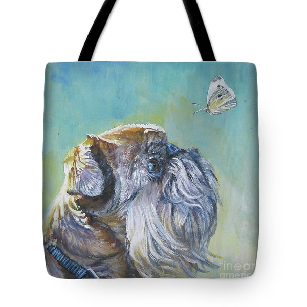 Brussels Griffon With Butterfly Tote Bag by Lee Ann Shepard
