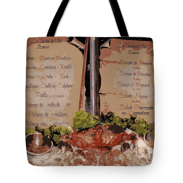 Brussels Menu - Digital Tote Bag by Carol Groenen