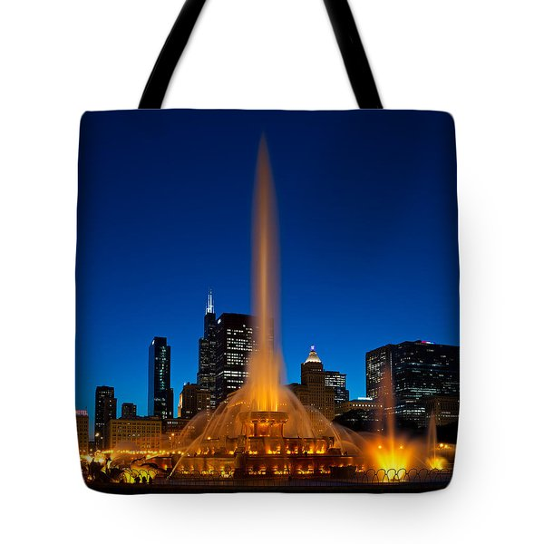 Buckingham Fountain Nightlight Chicago Tote Bag by Steve Gadomski