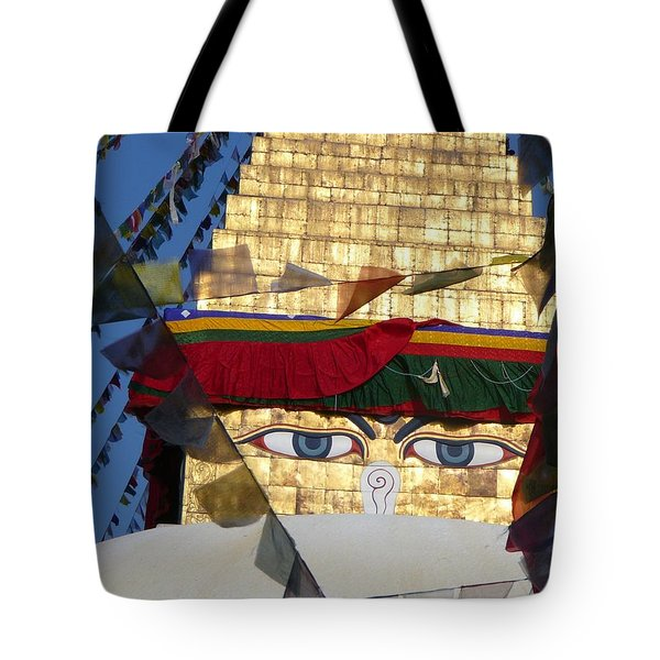 Buddha's  Eyes Tote Bag by Dagmar Ceki