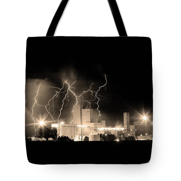 Budweiser Lightning Thunderstorm Moving Out BW Sepia Crop Tote Bag by James BO  Insogna