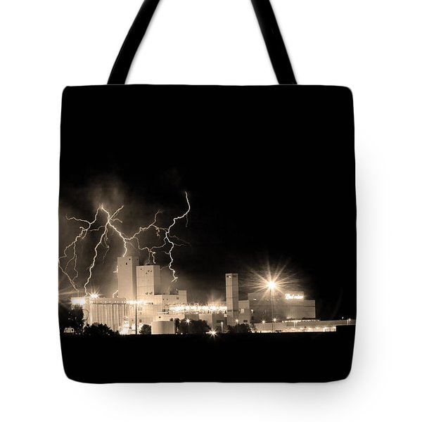 Budweiser Lightning Thunderstorm Moving Out BW Sepia Tote Bag by James BO  Insogna