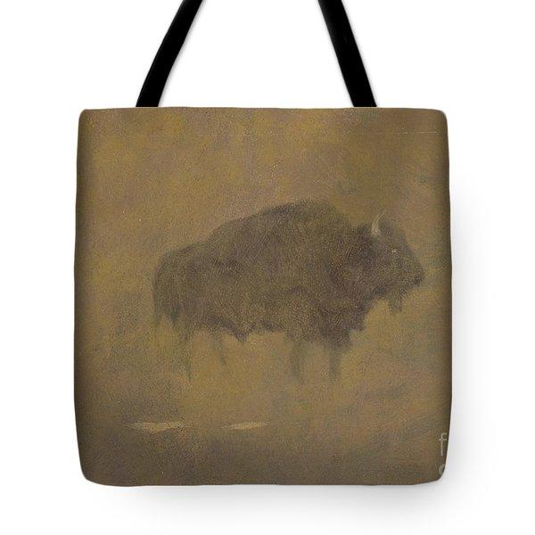 Buffalo In A Sandstorm Tote Bag by Albert Bierstadt