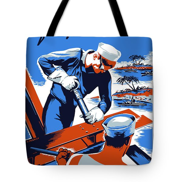 Build For Your Navy  Tote Bag by War Is Hell Store