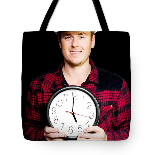 Builder With Clock Showing Home Time Tote Bag by Jorgo Photography - Wall Art Gallery