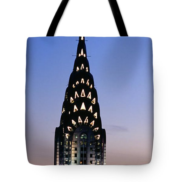 Building Lit Up At Twilight, Chrysler Tote Bag by Panoramic Images