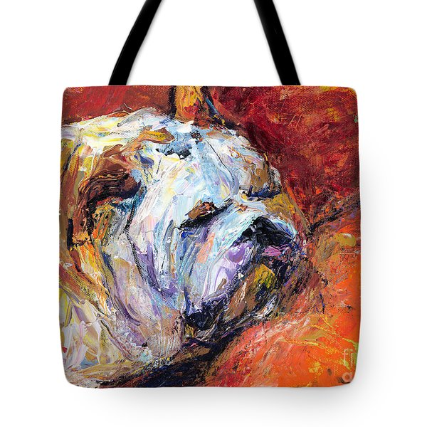 Bulldog Portrait painting impasto Tote Bag by Svetlana Novikova