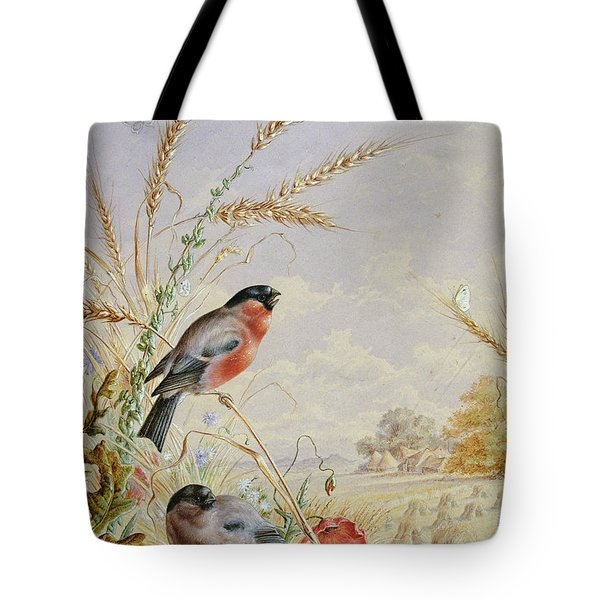 Bullfinches In A Harvest Field Tote Bag by Harry Bright