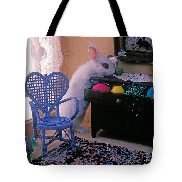Bunny in small room Tote Bag by Garry Gay