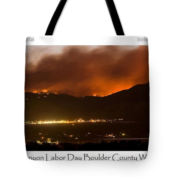 Burning Foothills Above Boulder Fourmile Wildfire Panorama Poster Tote Bag by James BO  Insogna