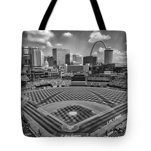 Busch Stadium St. Louis Cardinals Black White Ballpark Village Tote Bag by David Haskett