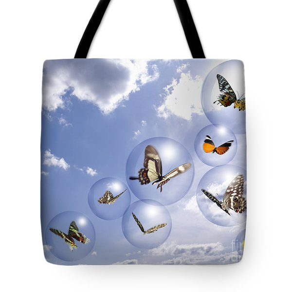 Butterflies and bubbles Tote Bag by Tony Cordoza