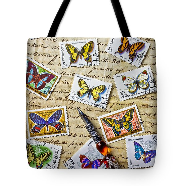 Butterfly stamps and old document Tote Bag by Garry Gay