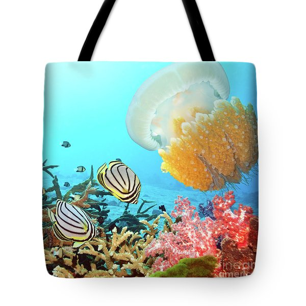 Butterflyfishes And Jellyfish Tote Bag by MotHaiBaPhoto Prints