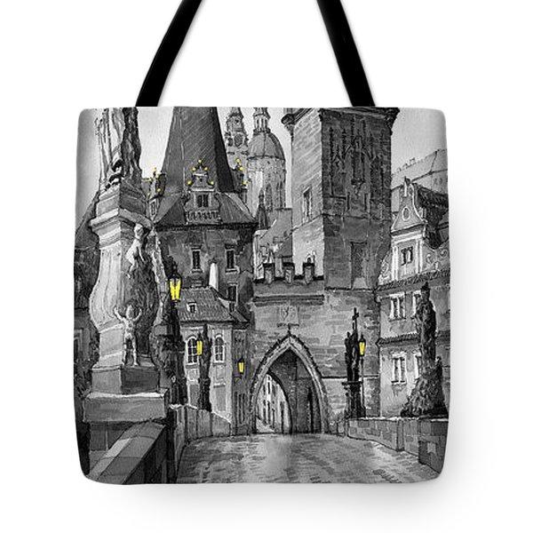 Bw Prague Charles Bridge 02 Tote Bag by Yuriy  Shevchuk