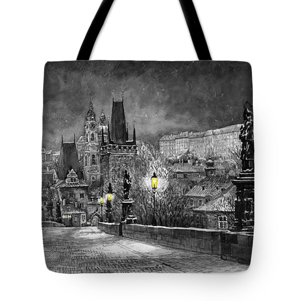 BW Prague Charles Bridge 06 Tote Bag by Yuriy  Shevchuk