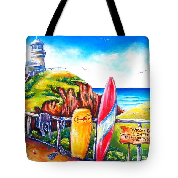 Byron Bay Lighthouse Tote Bag by Deb Broughton