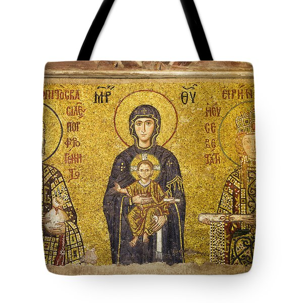 Byzantine Mosaic in Hagia Sophia Tote Bag by Artur Bogacki