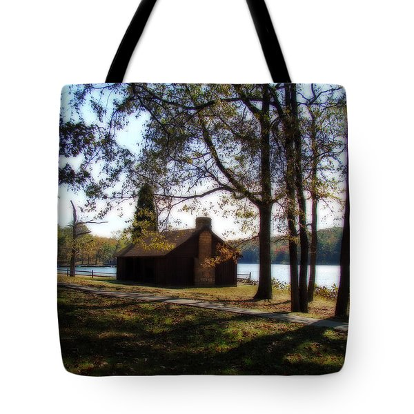 Cabin by the Lake Tote Bag by Sandy Keeton
