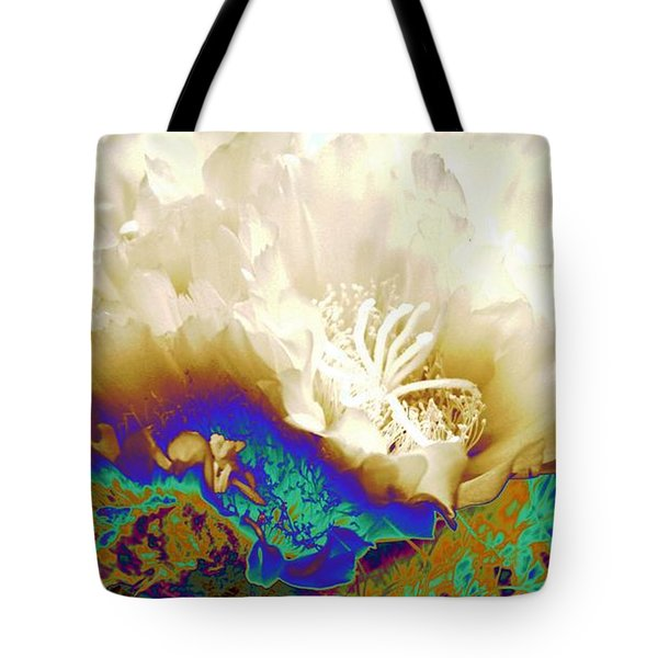Cactus Moon Flower Tote Bag by  Andrea Lazar