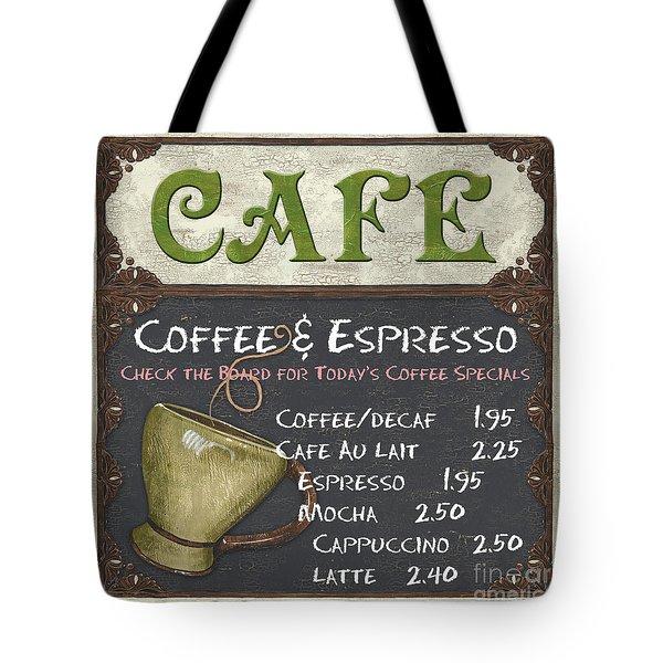 Cafe Chalkboard Tote Bag by Debbie DeWitt
