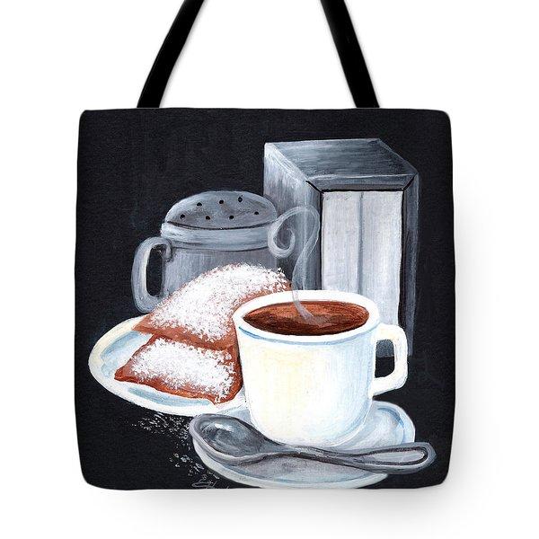 Cafe Du Monde On Black Tote Bag by Elaine Hodges