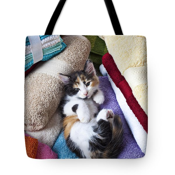 Calico kitten on towels Tote Bag by Garry Gay