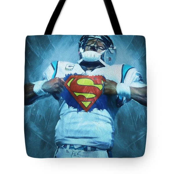 Cam Newton Superman Tote Bag by Dan Sproul