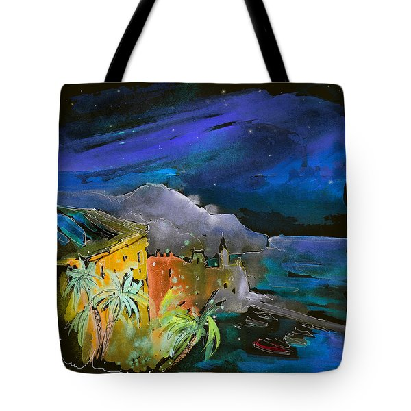 Camogli By Night In Italy Tote Bag by Miki De Goodaboom