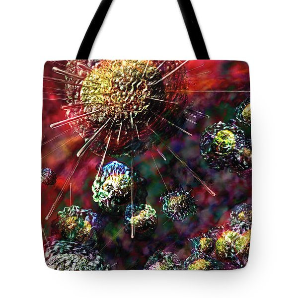 Cancer Cells Tote Bag by Russell Kightley