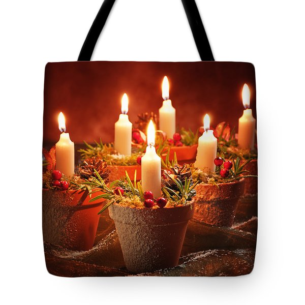 Candles In Terracotta Pots Tote Bag by Amanda And Christopher Elwell