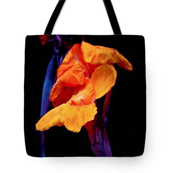 Canna Lilies on Black With Blue Tote Bag by Mother Nature