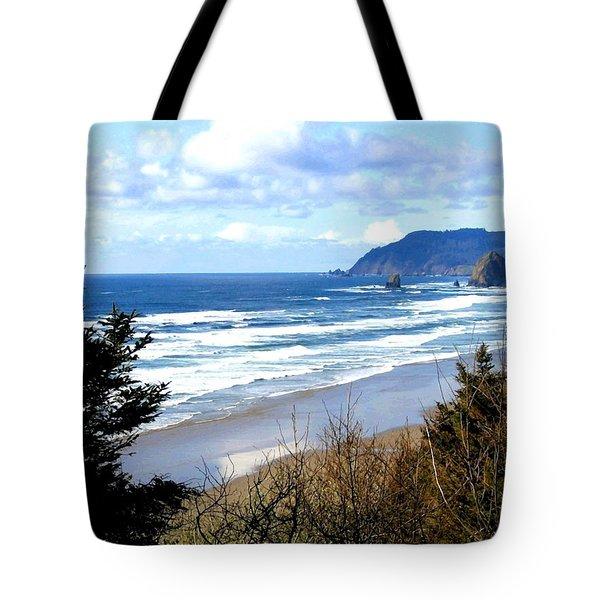 Cannon Beach Vista Tote Bag by Will Borden