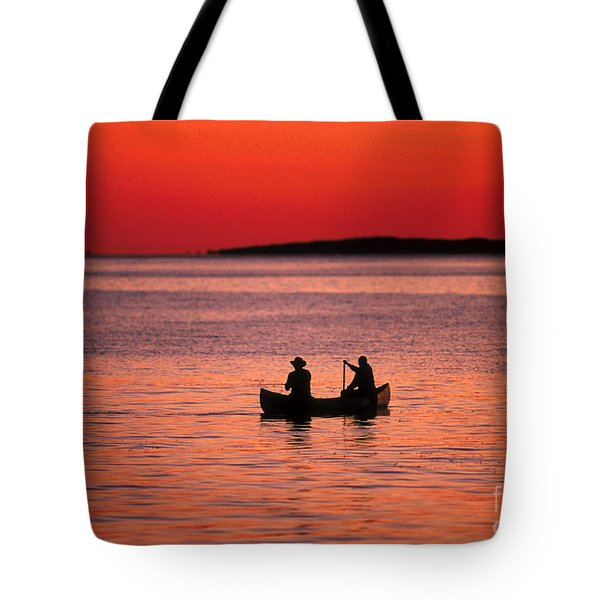 Canoe Fishing Tote Bag by John Greim