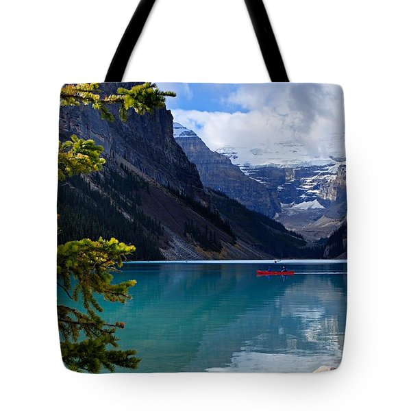 Canoe On Lake Louise Tote Bag by Larry Ricker