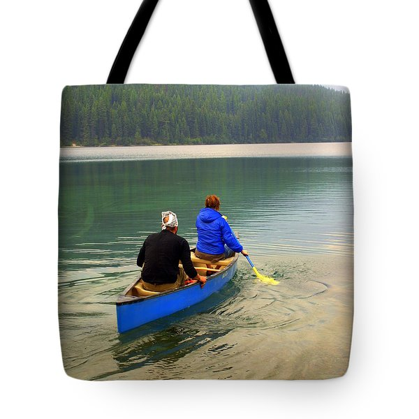 Canoeing Glacier Park Tote Bag by Marty Koch