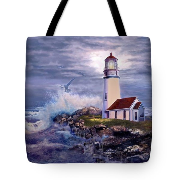 Cape Blanco Oregon Lighthouse on Rocky Shores Tote Bag by Gina Femrite