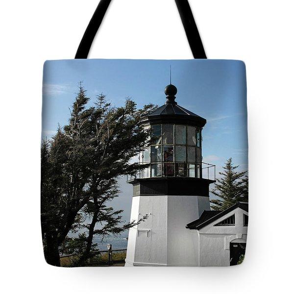 Cape Meares Lighthouse Near Tillamook On The Scenic Oregon Coast Tote Bag by Christine Till