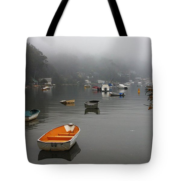 Careel Bay Mist Tote Bag by Avalon Fine Art Photography