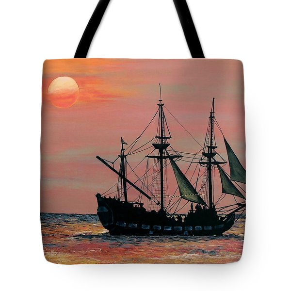 Caribbean Pirate Ship Tote Bag by Susan DeLain
