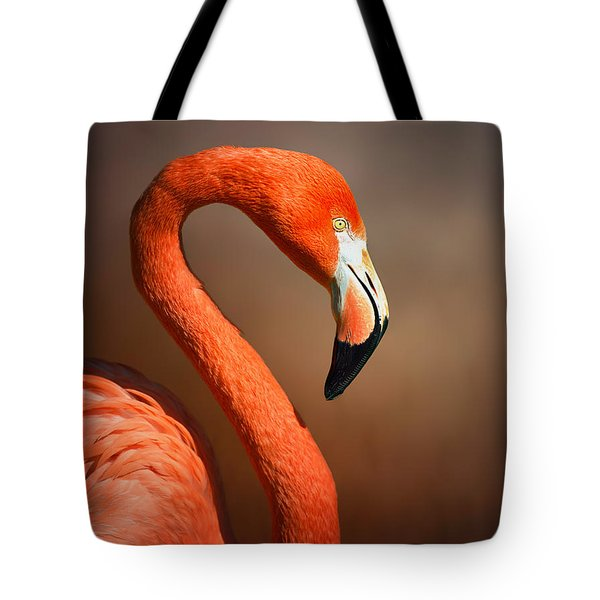Caribean Flamingo Portrait Tote Bag by Johan Swanepoel