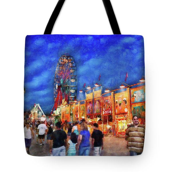Carnival - The Carnival At Night Tote Bag by Mike Savad