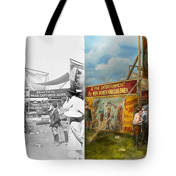 Carnival - Wild Rose And Rattlesnake Joe 1920 - Side By Side Tote Bag by Mike Savad